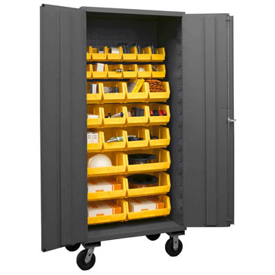 Mobile Cabinet with Hook-On Bins, 14 Gauge - 36'W x 24'D x 80'H