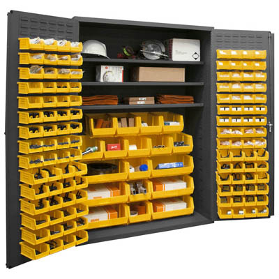 "14 Gauge Cabinet with 3 Shelves & 138 Hook-On Bins - 48""W x 24""D x 72""H"