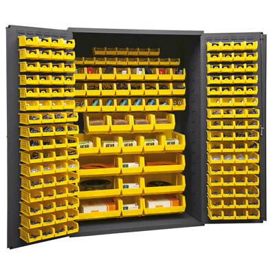 "14 Gauge Cabinet with 186 Hook-On Bins - 48""W x 24""D x 72""H"