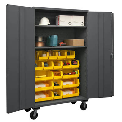 Mobile Cabinet with Hook-On Bins/Shelves, 14 Gauge - 48'W x 24'D x 80'H