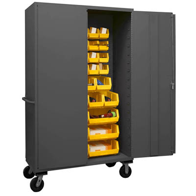 Mobile Cabinet with Hook-On Bins, 14 Gauge - 48'W x 24'D x 80'H