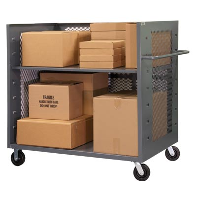 "3 Sided Mesh Trucks w/ 2 Shelves, 60""W x 30""D x 57""H"