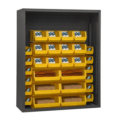 "Heavy Duty 48""W, 12 Gauge Enclosed Shelving with 30 Hook-On-Bins"