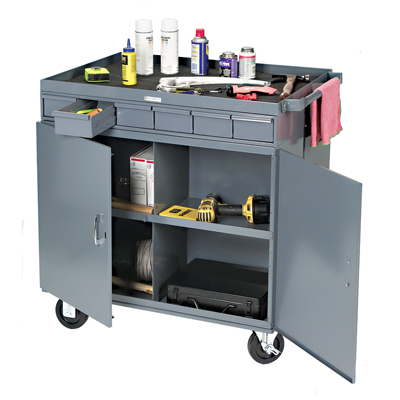 2 Sided Cart with 12 Bins, 12 Drawers & Lockable Cabinet