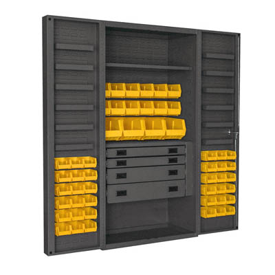 "4"" Deep Box Style Door, 36""W Cabinet with Drawers, Shelves, and Hook-On-Bins"