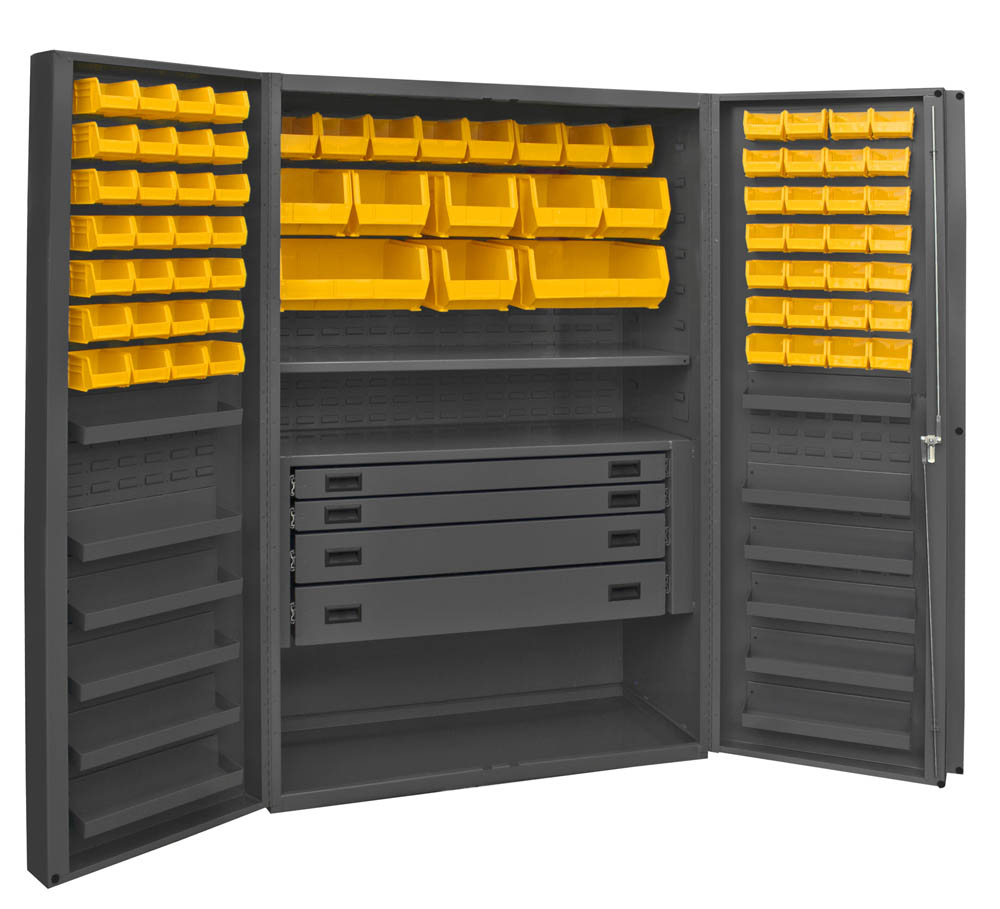 Durham Mfg., DCBDLP724RDR-95, Cabinet with 72 Bins, 1 Shelf, 12 ...