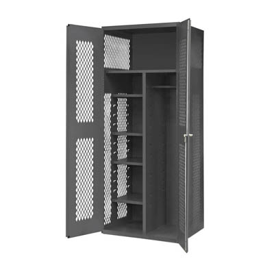 "14 Gauge Janitorial Cabinet with Ventilated Doors, Wardrobe/Broom Storage & Shelves - 36""W x 24""D x 84""H"