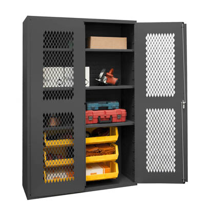 "14 Gauge Cabinet with Ventilated Doors, 6 Hook-On Bins & 3 Shelves - 48""W x 24""D x 72""H"