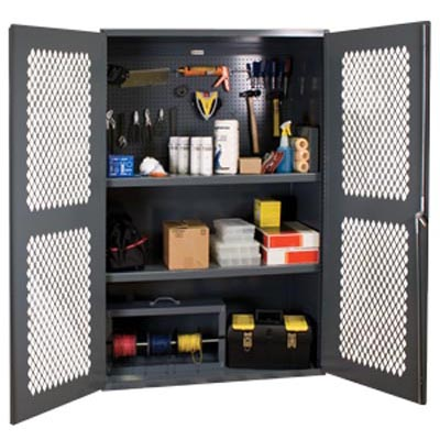 "14 Gauge Janitorial Cabinet with Ventilated Doors with Steel Pegboard & Shelves - 48""W x 24""D x 72""H"