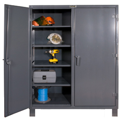 "Extra Heavy Duty 12-Gauge 60"" Wide Lockable Double Shift Storage Cabinet"
