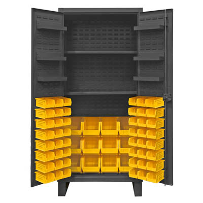Extra Heavy Duty 12-Gauge Cabinet with 60 Bins, 2 Shelves and 6 Door Shelves