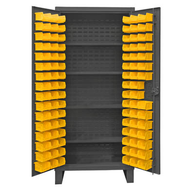 Extra Heavy Duty 12-Gauge Cabinet with 96 Bins and 4 Shelves
