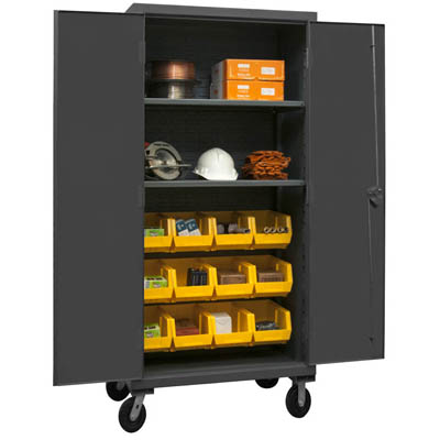 Mobile Cabinet with Hook-On Bins/Shelves, 12 Gauge - 36'W x 24'D x 80'H