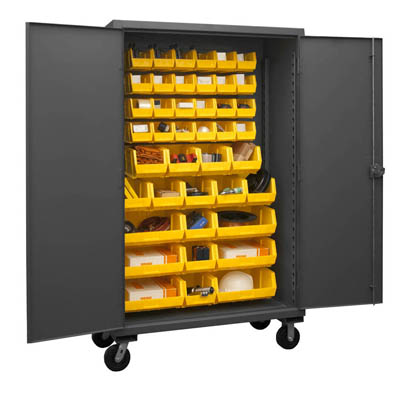 Mobile Cabinet with Hook-On Bins, 12 Gauge - 24'D x 80'H