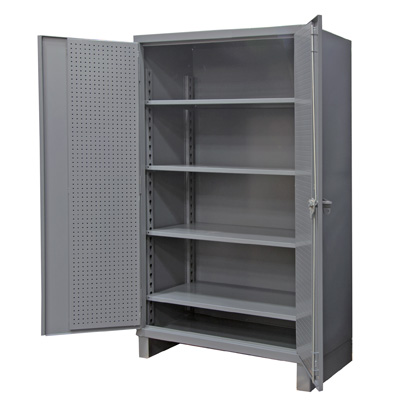 "Extra Heavy Duty 12-Gauge Pegboard and Shelf Cabinet, 60""W X 24""D X 78""H"