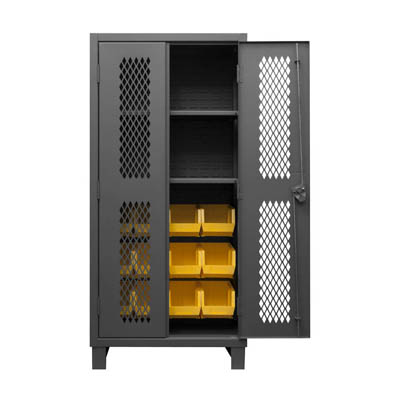 "12 Gauge Cabinet with Ventilated Doors, 12 Hook-On Bins & 2 Shelves - 36""W x 24""D x 78""H"