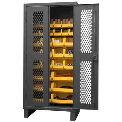 "12 Gauge Cabinet with Ventilated Doors & 30 Hook-On Bins - 36""W x 24""D x 78""H"