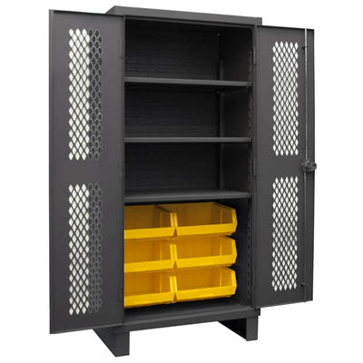 "12 Gauge Cabinet with Ventilated Doors, 6 Hook-On Bins & 3 Shelves - 36""W x 24""D x 78""H"