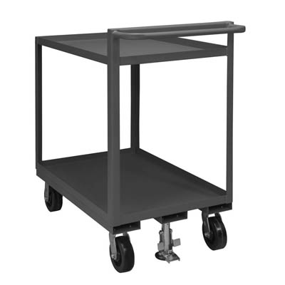 "Rolling Service Stock Cart Lips Up with Raised Handle & 2 Shelves - 43-3/4""H"