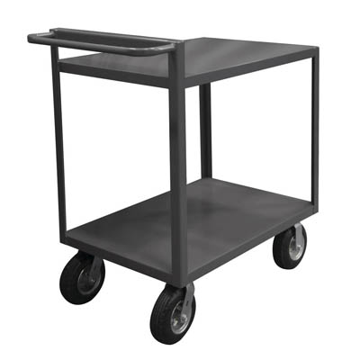 "Rolling Service Stock Cart All Lips Down with Raised Handle & 2 Shelves - 43-3/4""H"
