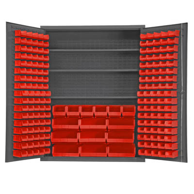 "60"" Wide Cabinet with 185 Bins & 3 Shelves, No Legs (Flush Door Style)"