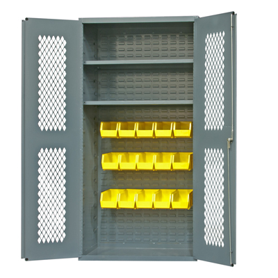 "Clearview Cabinets with Hook-On Bins & Shelves, 36""W x 24""D x 72""H"