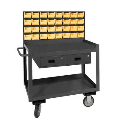 Mobile Work Station with Louvered Panel
