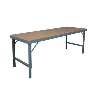 48in. Deep Folding Leg Work Bench w/ Tempered Hard Board Over Steel Top