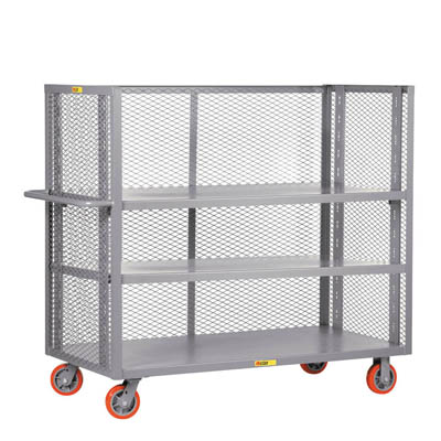Adjustable 3-Sided Shelf Truck w/ 3 Shelves & Mesh Sides