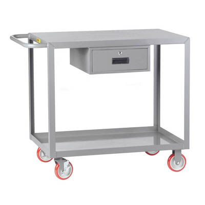 Welded Service Cart with Brakes and 1 Drawer, Flush Top (1,200 lbs. capacity)