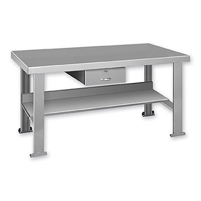 "FSD Series Welded Steel Benches Basic + Shelf & Drawer 72"" Wide"