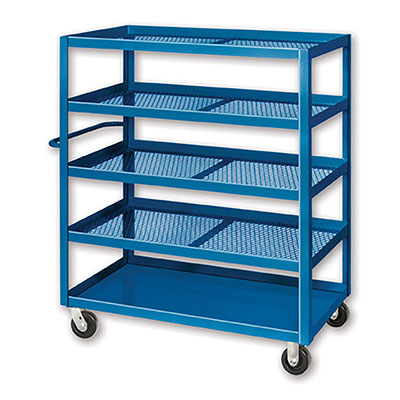 X Series, 5 Shelf,  Expanded Metal Stock Carts