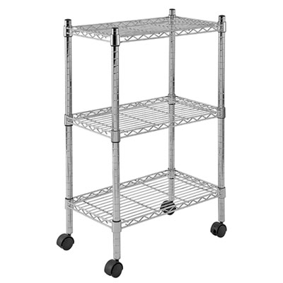 Mobile Commercial Chrome Wire Shelving - 3 Tier