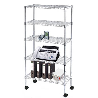 "Mobile Commercial Chrome Wire Shelving - 5 Tier, 36""W"
