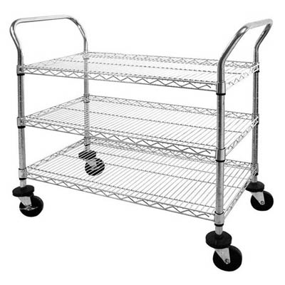 "Chrome Wire Shelf Cart - 48""W"