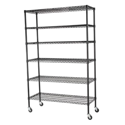 Mobile Chrome Wire Shelving - 48'W x 18'D x 74'H