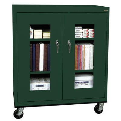 "Transport Mobile Clear View Counter Height Cabinet, 24""D - 14 Color Options"