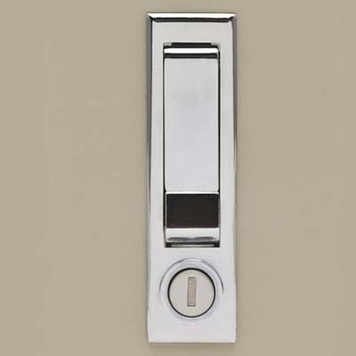 Chrome Recessed Push Button Locking Handle