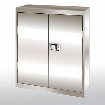 Counter Height Stainless Steel Cabinet, Paddle Lock