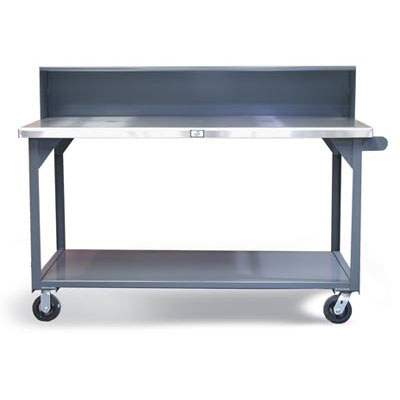 T7236-RS-CA-SSTOP, Industrial Shop Table with Casters and Stainless Steel Top