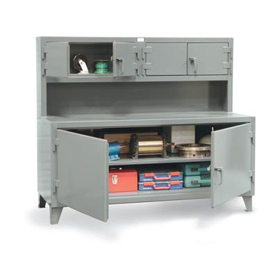 Cabinet Workstation with Upper Compartment