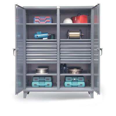 56-DS-246-10DB, Double Shift Cabinet w/ 10 Drawers & 3 Shelves, 60'W x 24'D x 78'H
