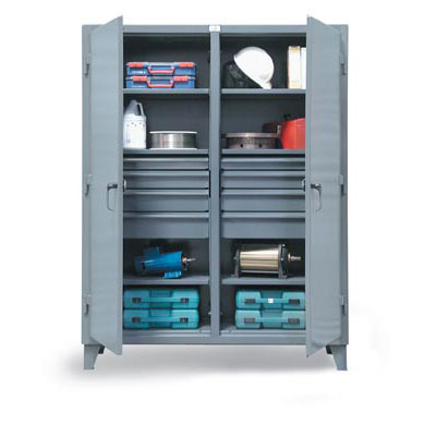 66-DS-246-8DB, Double Shift Cabinet w/ 8 Drawers & 3 Shelves, 72'W x 24'D x 78'H