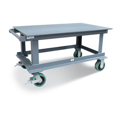 Heavy-Duty Mobile Shop Table With 1/2 inch Steel Plate Top, 12,000 lbs. Capacity