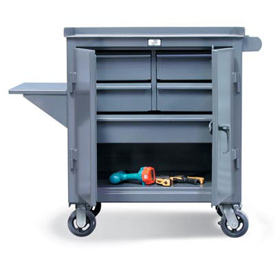 3-TC-240-4/5-1DB-VS, Mobile Maintenance Cart With 5 Drawers And Vise Shelf