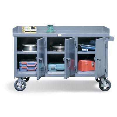 Mobile Work Bench With 3 Locking Compartments