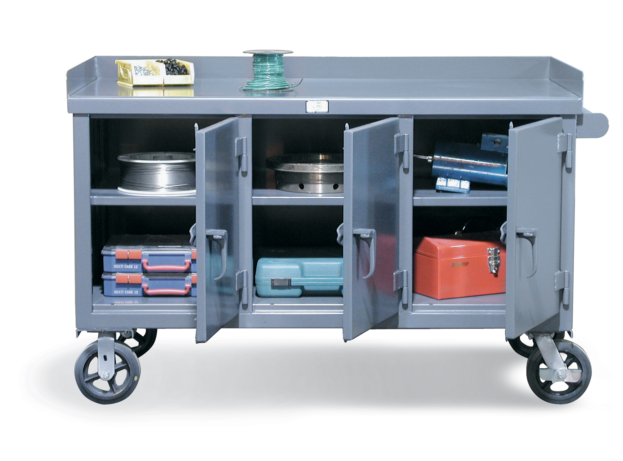 Stronghold Mobile Workbench With 3 Locking Doors Metal Cabinet Store