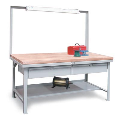 T7236-FL-2DB-MT, Industrial Shop Table With Maple Top And Overhead Light