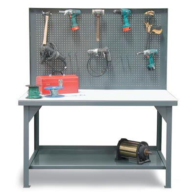 Industrial Shop Table With Pegboard Back Wall