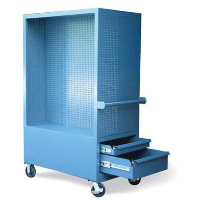 SU-15401, Mobile Tool Cart With Pegboard Interior And 4 Drawers